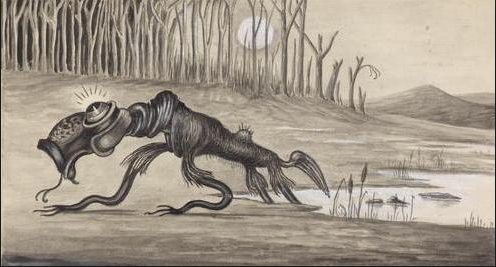 An early rendering of the bunyip– artist unknown
